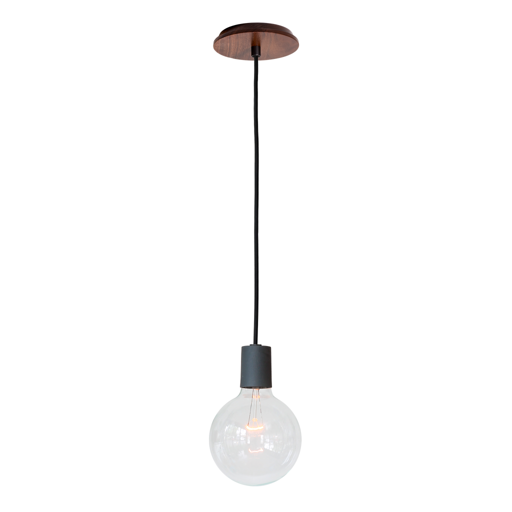 Swift Cord Pendant. Shown with Midnight Blue Ceramic Socket Cup and Walnut Wood Canopy with Black Round Cloth Cord. (G40 light bulb shown, not included). Cedar and Moss.