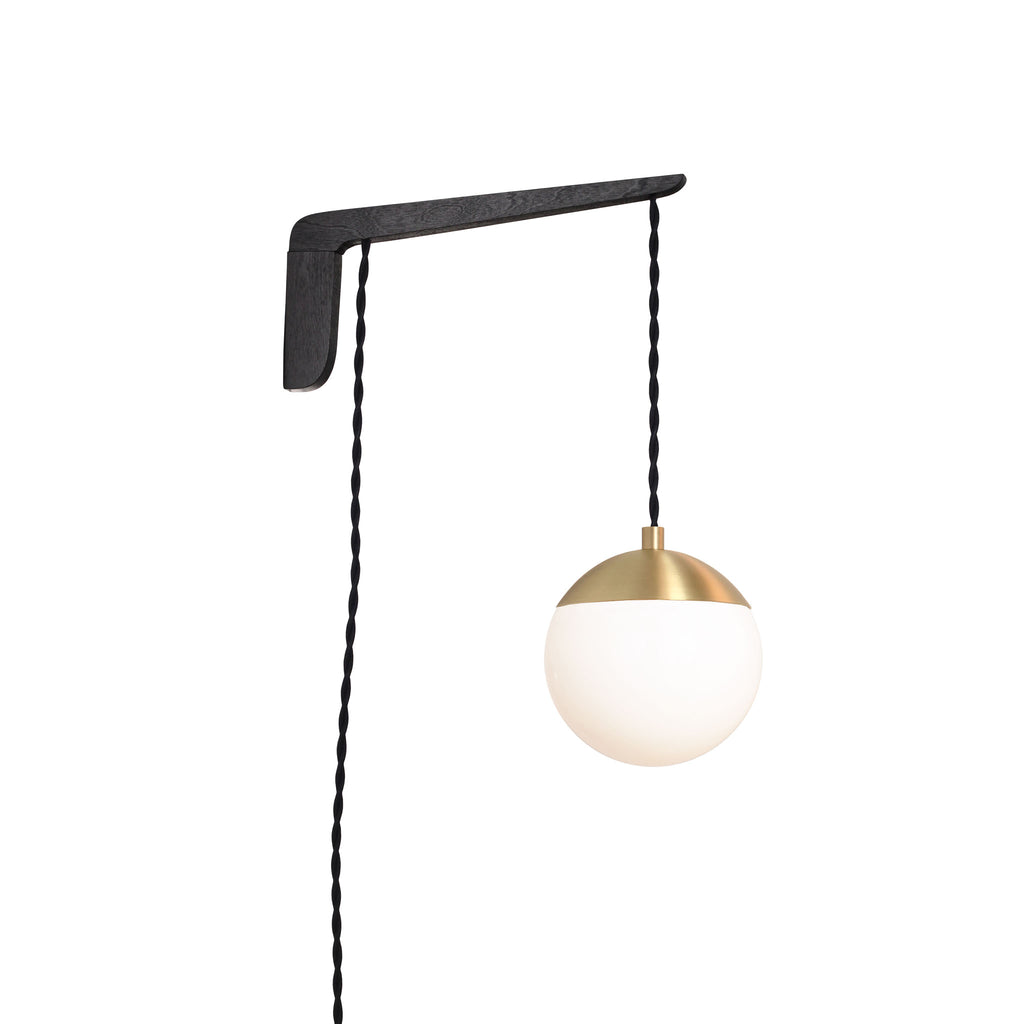 "Swing Arm Alto 6"". Shown with Black Stained wood arm, Brass metal finish, and Black cord. (A15 light bulb shown, not included). Cedar and Moss."