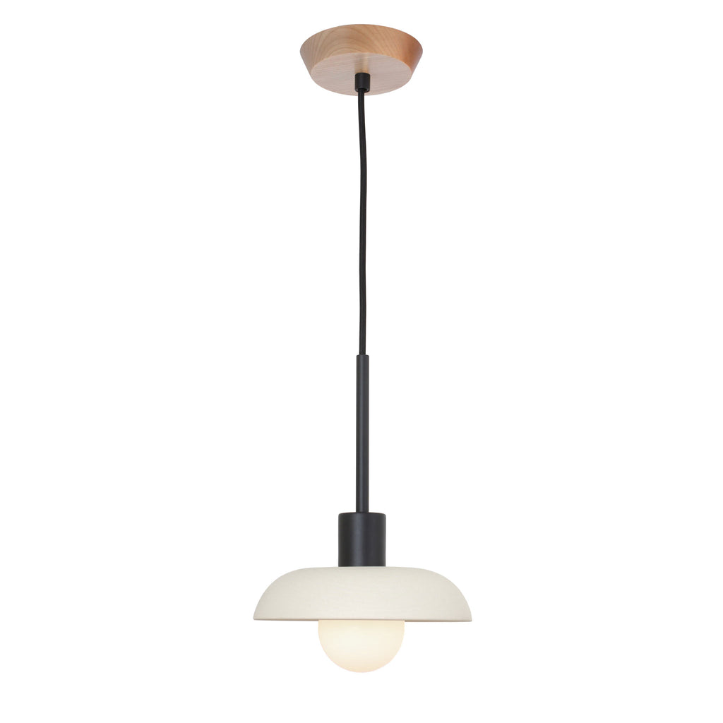 Terra Cord Pendant. Shown in Bone ceramic with Matte Black finish and Maple wood canopy. (G25 opal bulb shown, not included). Cedar and Moss.