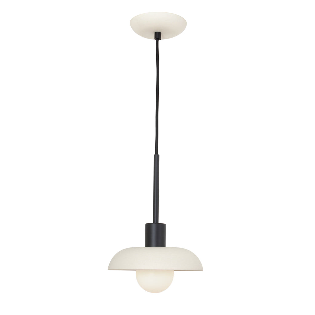 Terra Cord Pendant. Shown in Bone ceramic with Matte Black finish. (G25 opal bulb shown, not included). Cedar and Moss.