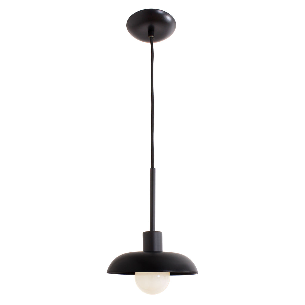 Cedar and Moss. Terra Cord Pendant. Shown in Eclipse Black ceramic with Matte Black finish. (G25 opal bulb shown, not included).