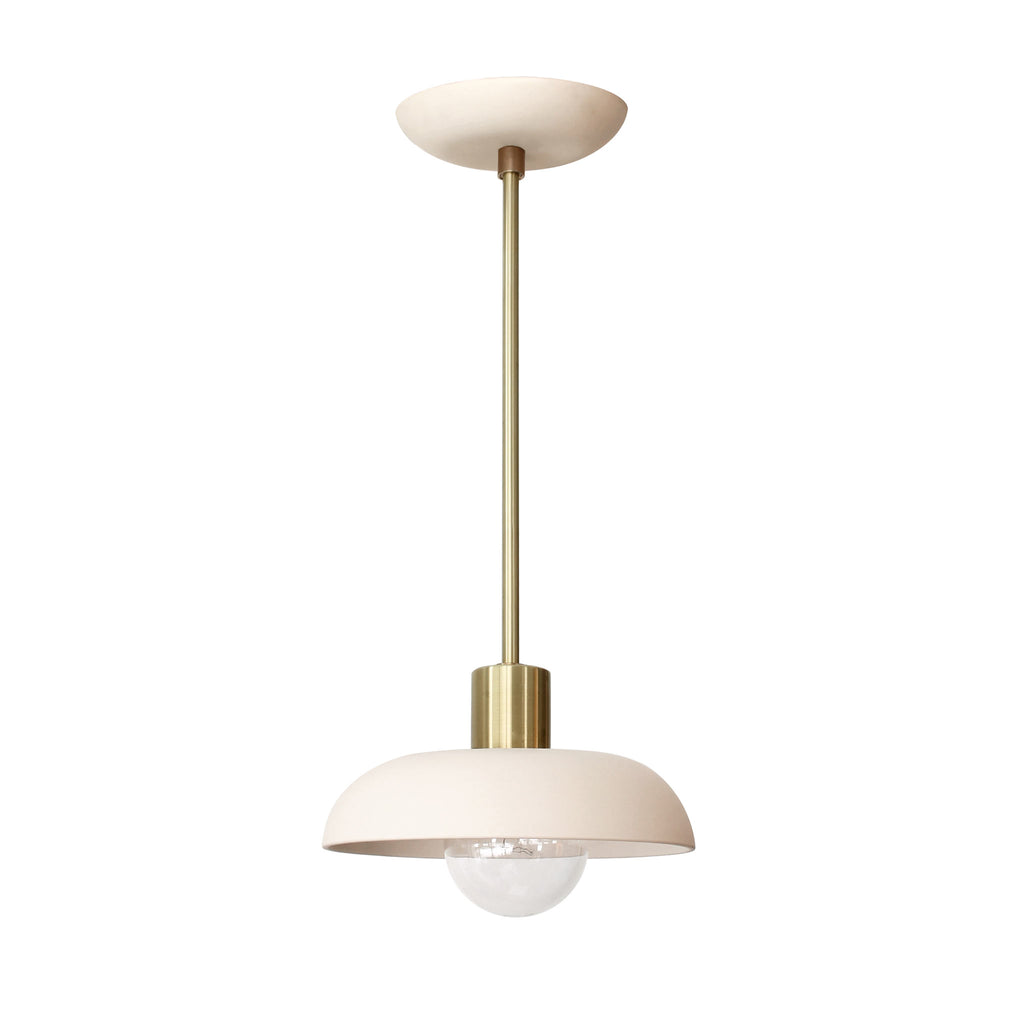 Cedar and Moss. Terra Pendant. Shown in Bone and Brass. (G25 light bulb shown, not included).