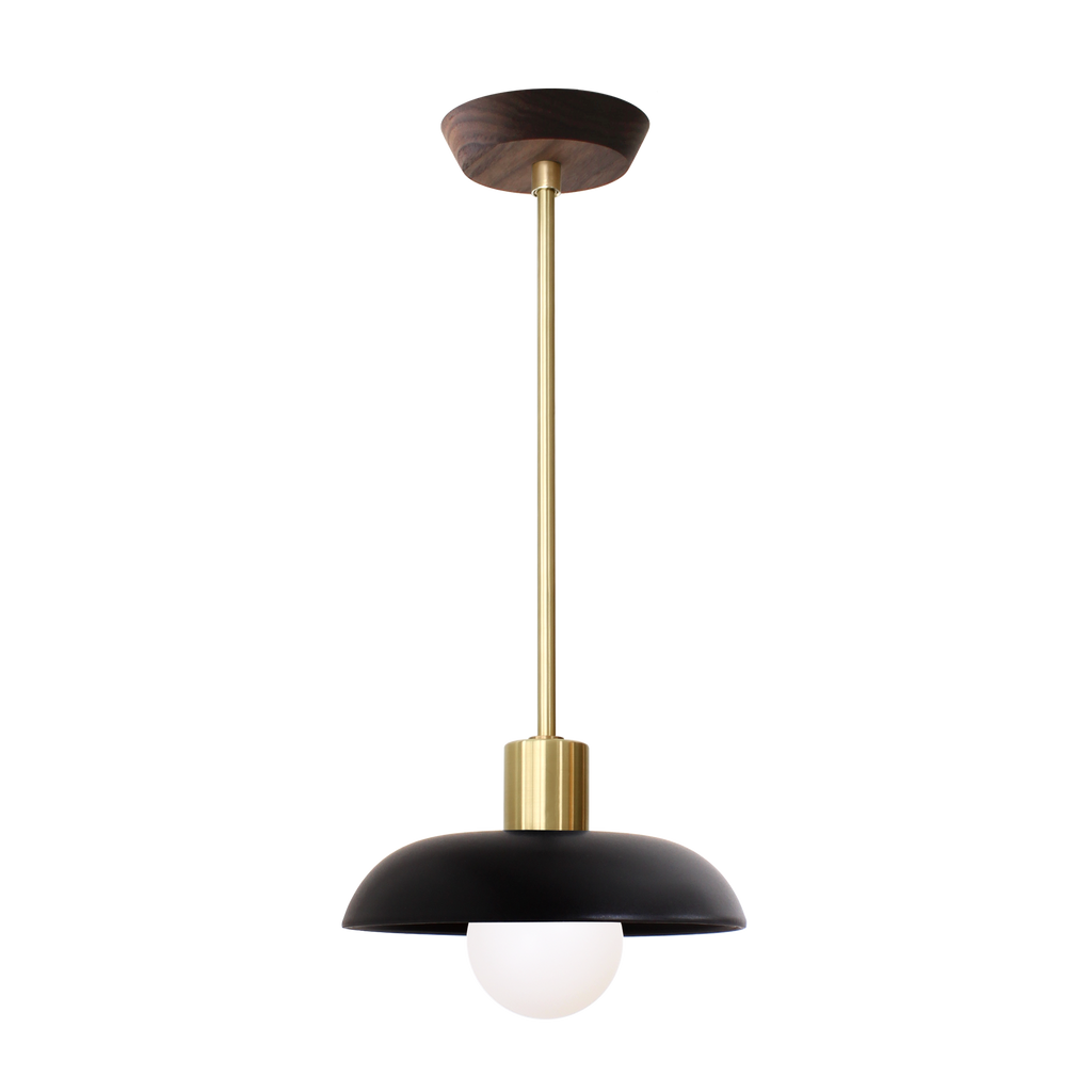 Terra Pendant. Shown with Eclipse Black ceramic and Brass metal finish. Walnut Wood Canopy Addition shown here. (G25 light bulb shown, not included). Cedar and Moss.