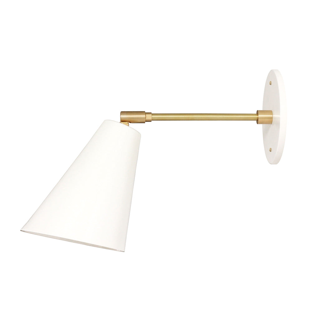 "Cedar and Moss. Tilt Cone. Shown in White and Brass finish with 6"" arm."