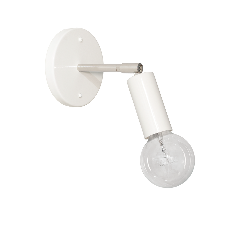 Tilt Regular. Shown in White and Polished Nickel Finish. Cedar and Moss. (G25 light bulb shown, not included).