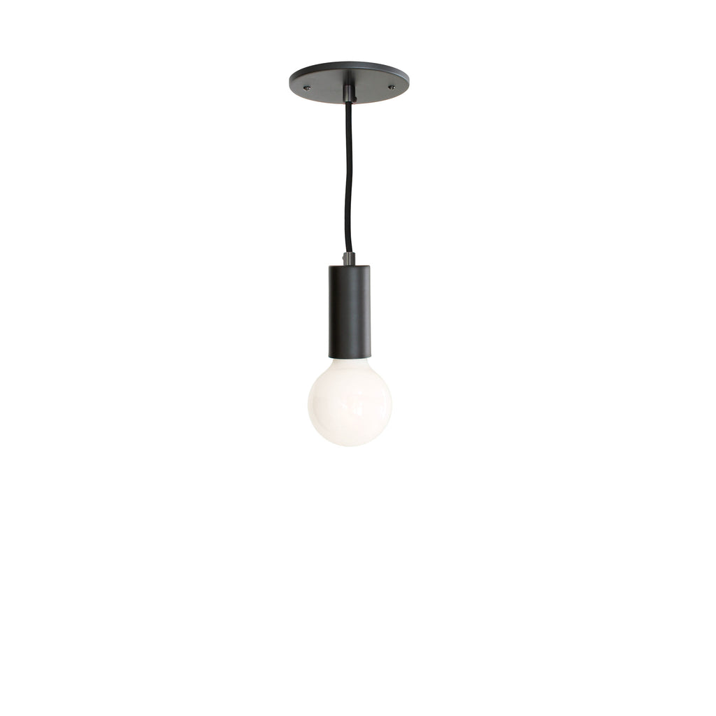 Timberline Cord Pendant. Shown in Matte Black finish with Round Black Cloth Cord. Cedar and Moss.