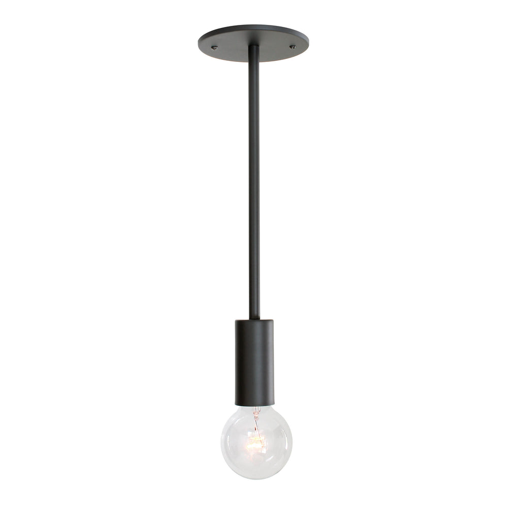 Timberline Rod Pendant. Shown in Matte Black Finish. (G25 light bulb shown, not included). Cedar and Moss.