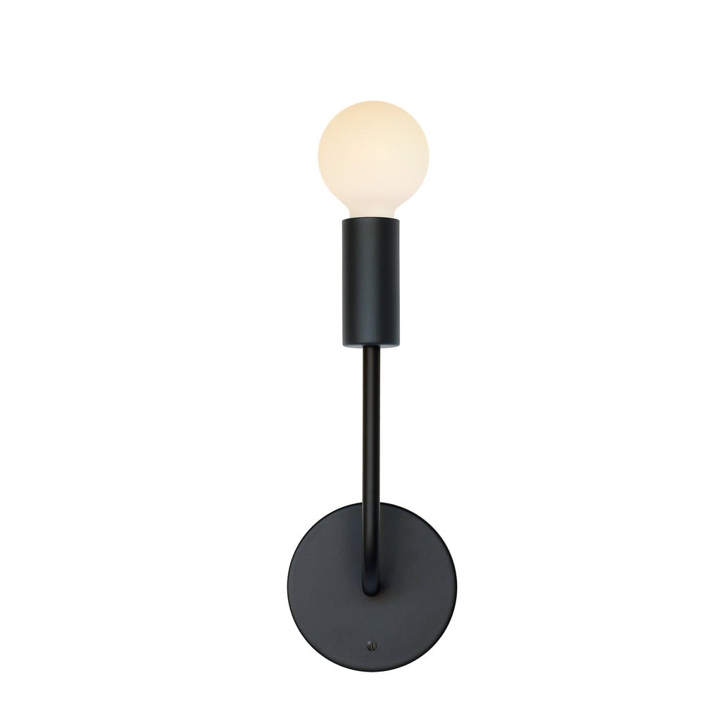 Timberline Sconce. Shown in Matte Black Finish. (G25 Tala light bulb shown, not included). Cedar and Moss.