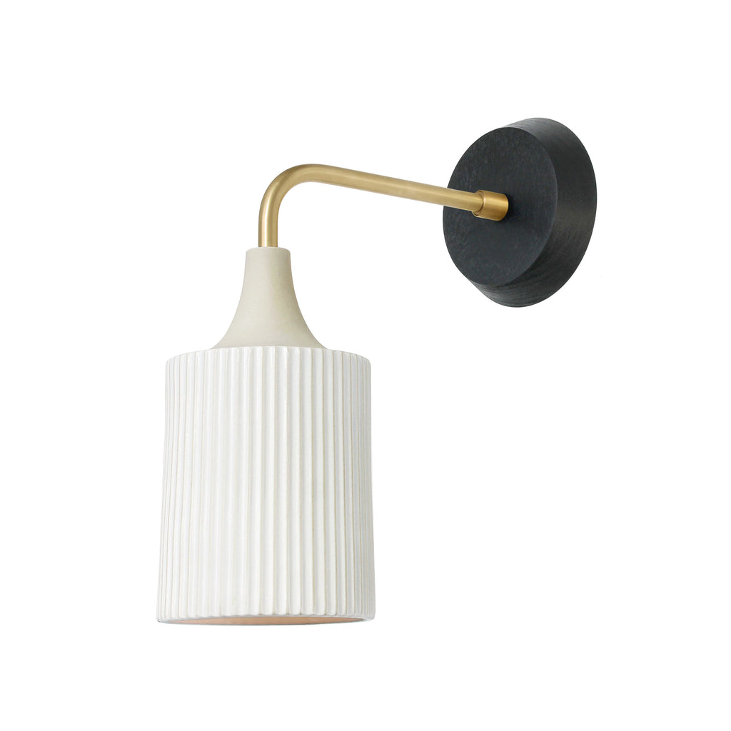 Tumwater Wall Sconce. Shown in Brass with Black Stained Birch Canopy. Cedar and Moss.