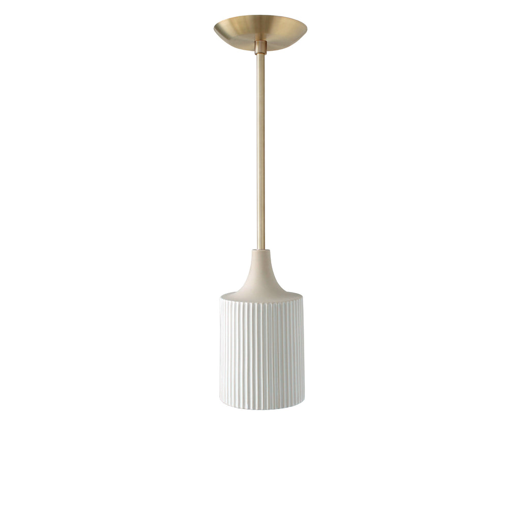 Tumwater Small Pendant. Shown in Brass with metal canopy. (G19 light bulbs shown, not included). Cedar and Moss.