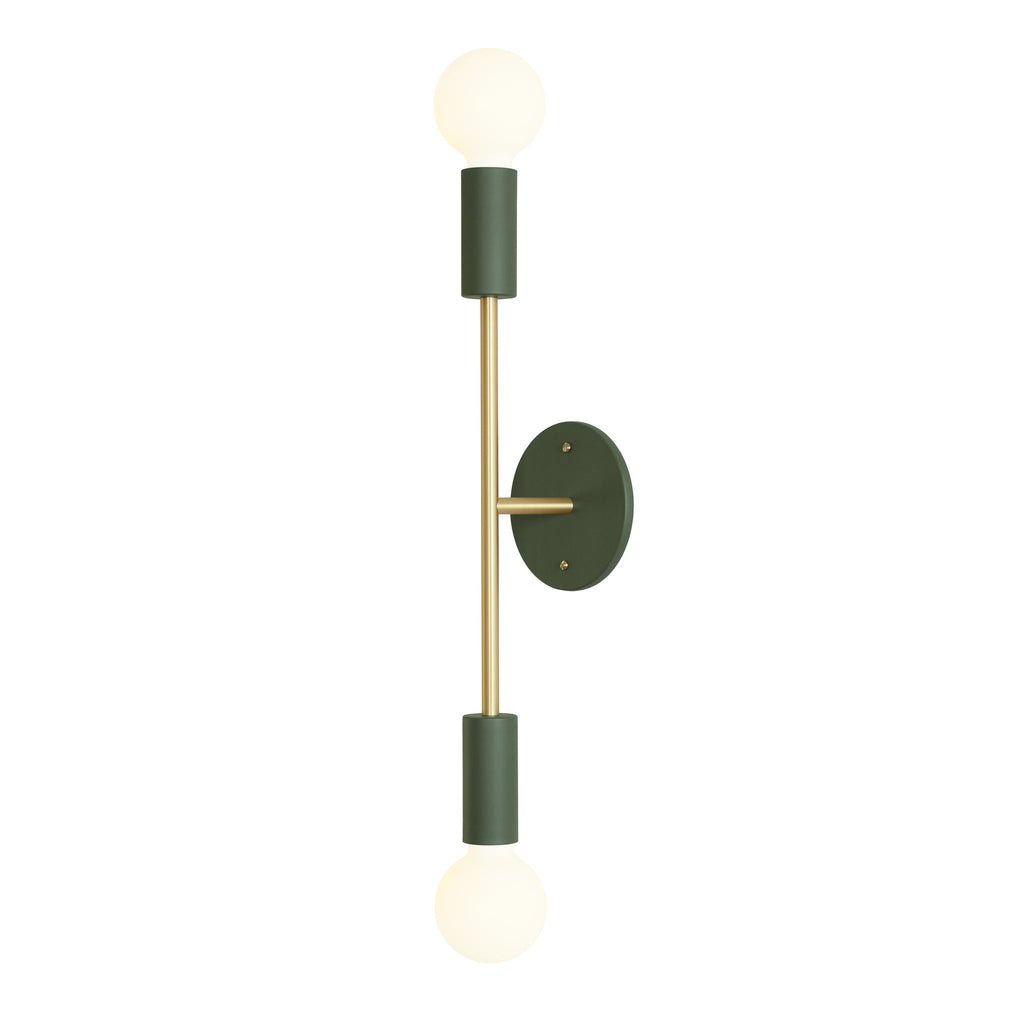 Venus Long Sconce. Shown in Secret Garden Green + Brass finish. (G25 light bulbs shown, not included). Cedar and Moss.