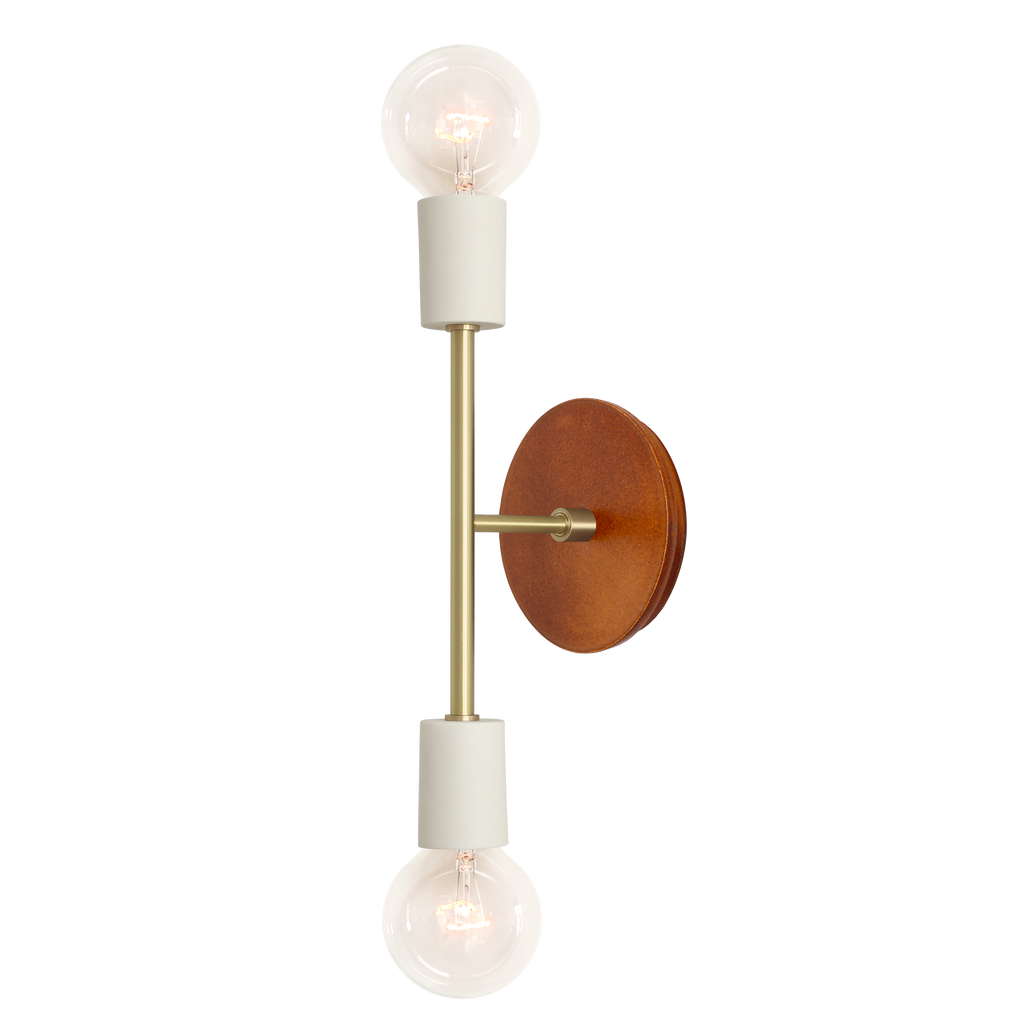Verona Ceramic Sconce. Bone and Brass finish with Swift - Varied Rust Canopy. (G25 light bulb shown, not included). Cedar and Moss.
