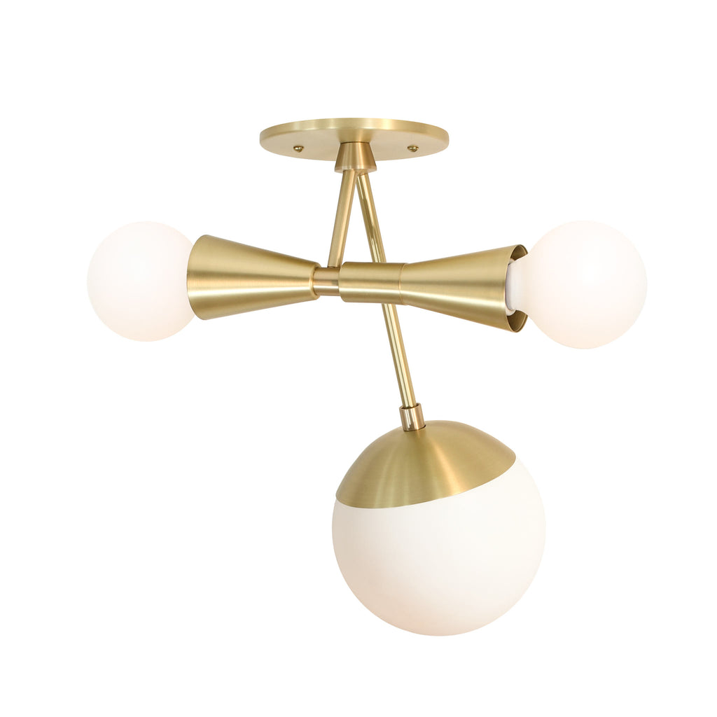 "Voyage Multi Light Fixture. Shown in Brass Finish at 14.5"" length. (G16 light bulbs in the double socket and G16 light bulb in the Glass Globe, not included). Cedar and Moss."