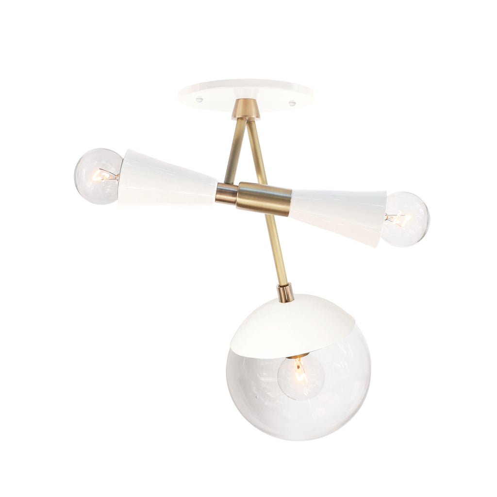 "Voyage Multi Light Fixture. Shown in White + Brass Finish at 14.5"" length. (G16 light bulbs in the double socket and G16 light bulb in the Glass Globe, not included). Cedar and Moss."