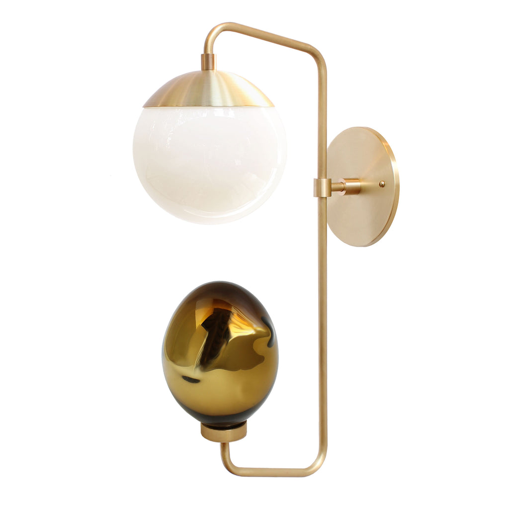 Cedar and Moss with Esque Colab. Wall Candy Sconce. Shown in Brass with Opal Glass and Bronze art glass. (G16.5 light bulb shown, not included).