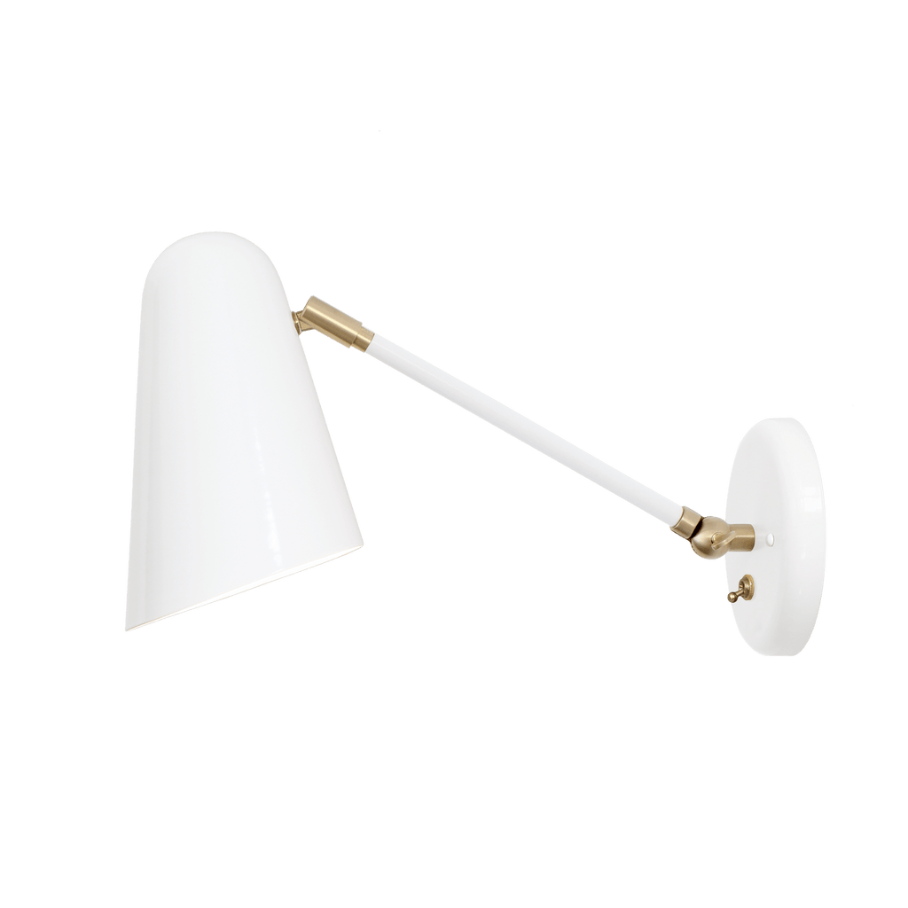 "Wildwood Single Articulated. Shown in White and Brass finish with 8"" arm and On/Off Switch. (A19 light bulb shown, not included). Cedar and Moss."