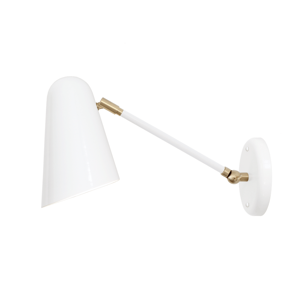 "Wildwood Single Articulated. Shown in White with Brass, 8"" arm. (A19 bulb shown, not included). Cedar and Moss."