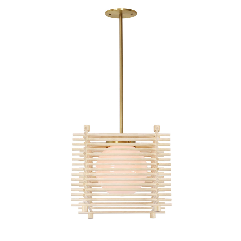 Yugen Pendant. Shown in Natural Birch and Brass Finish. Cedar and Moss.