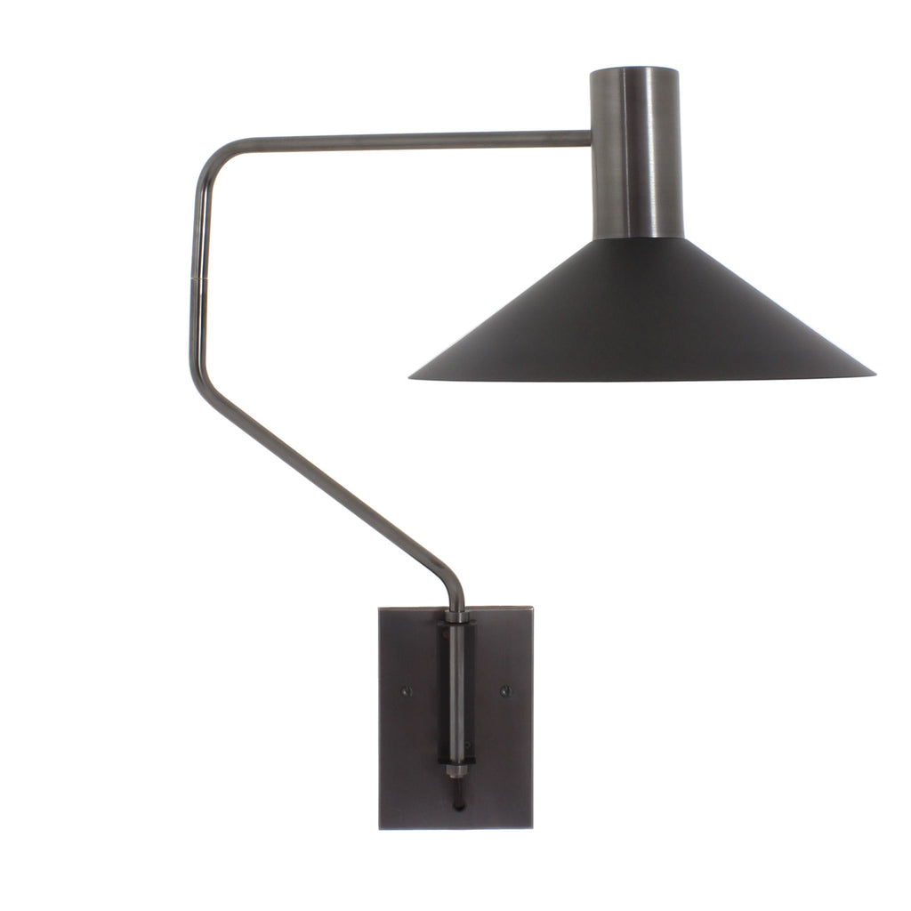 Cedar and Moss. Juniper Wall Sconce. Shown in Matte Black and Graphite Patina finish.