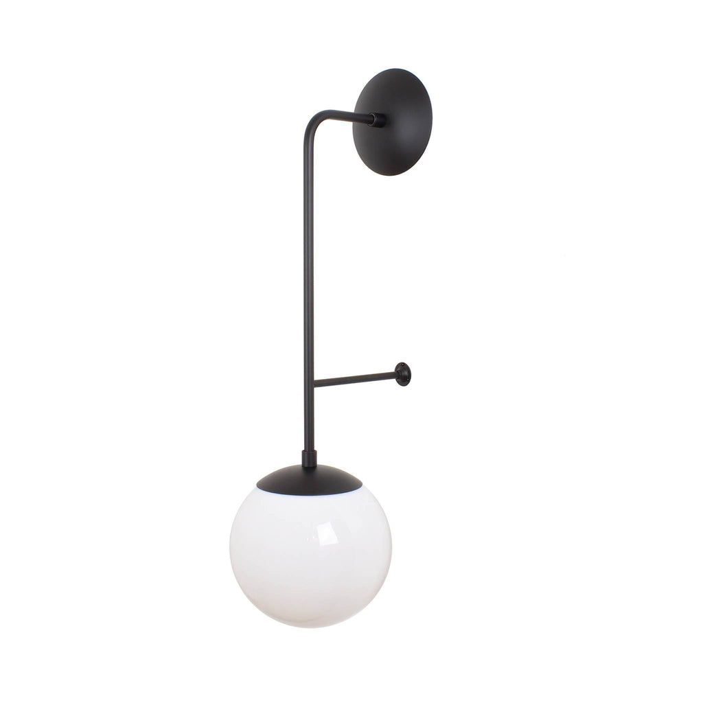 "Ramona 8"" Wall Sconce. 28"" length. Shown in Matte Black finish with Opal Glass. (G25 light bulb shown, not included)."