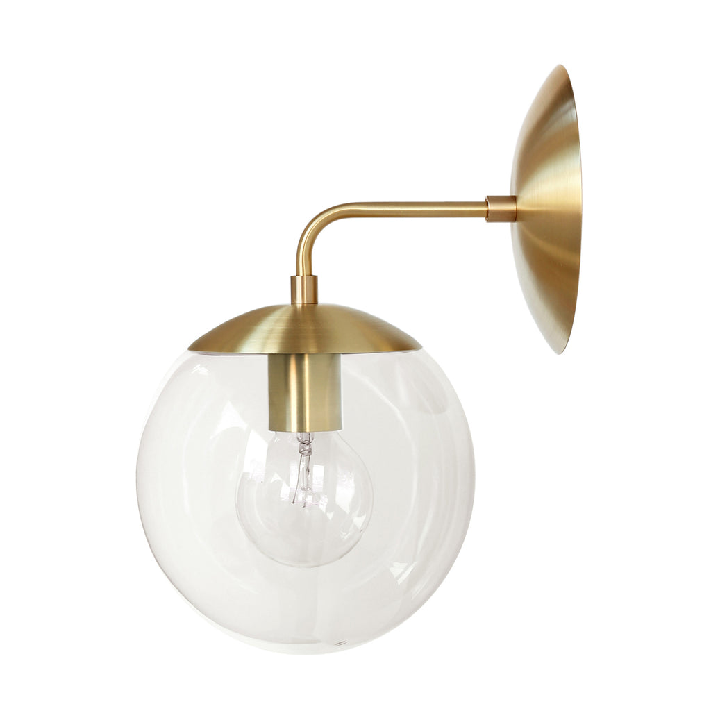 Cedar and Moss. Alto Sconce 8. Shown in brass with clear glass. (G25 light bulb shown, not included).