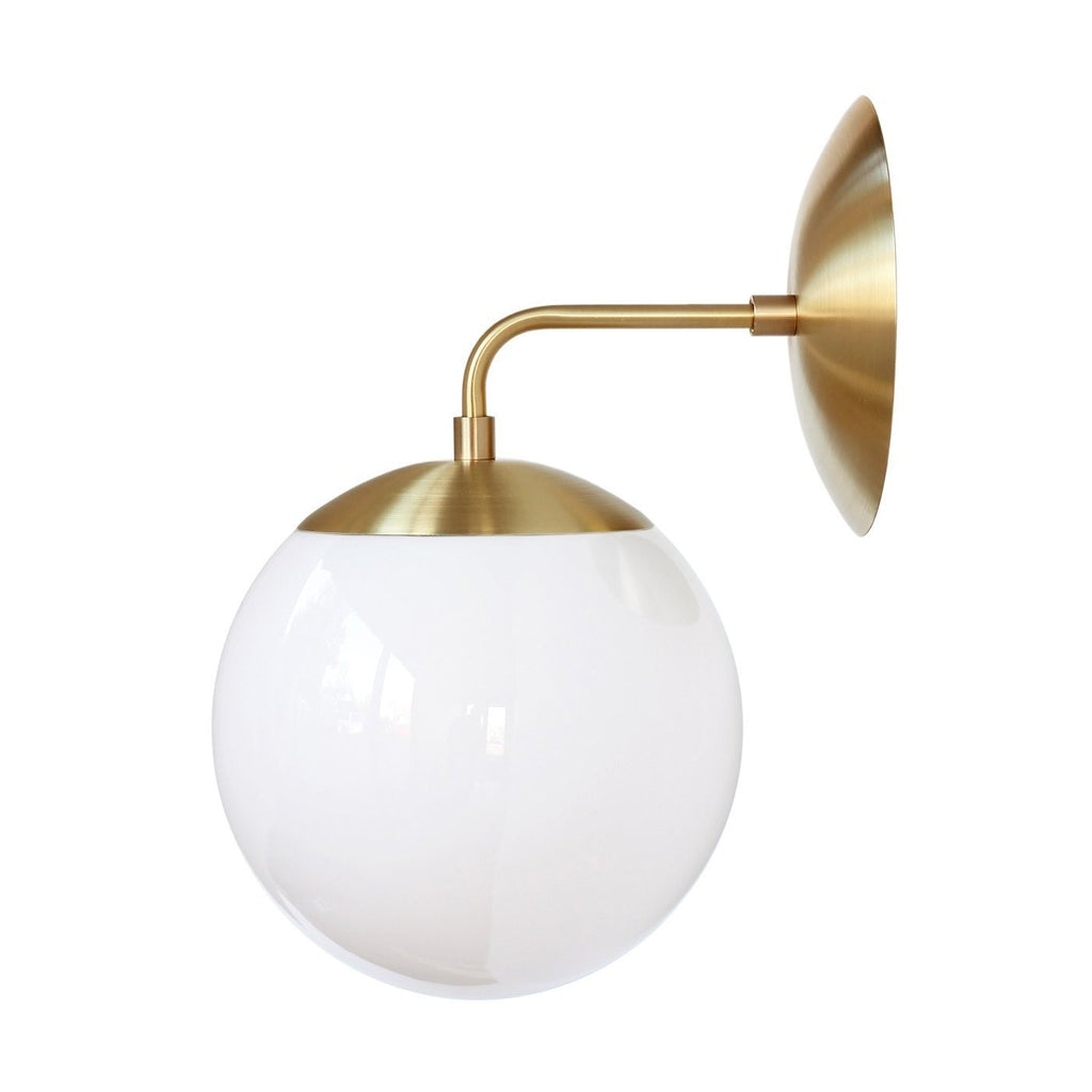Alto Sconce 8. Shown in Brass with Opal Glass. (G19 light bulb shown, not included). Cedar and Moss.
