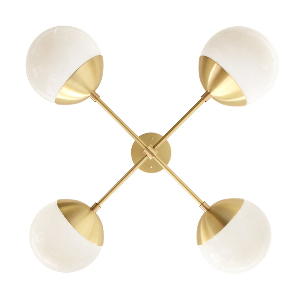 Cedar and Moss Alto Compass 6. Chandelier light fixture. Shown in Brass finish with Opal Glass. (G16.5 light bulbs shown, not included).