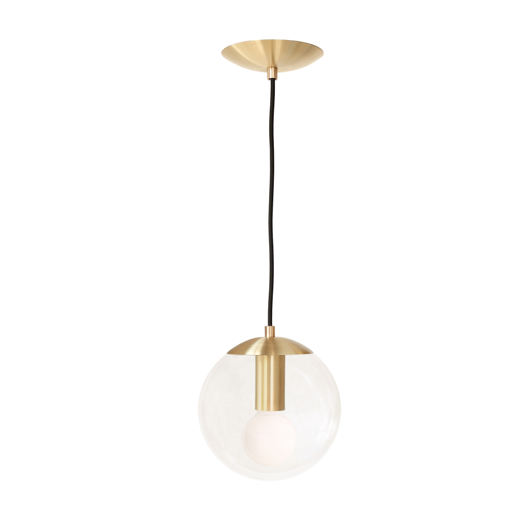 "Alto Cord 8"" Pendant. Shown in Brass finish with 8"" clear glass. (G25 light bulb shown, not included. Cedar and Moss."