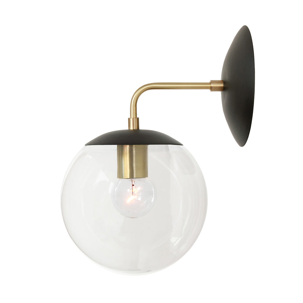 Cedar and Moss. Alto Sconce 8. Shown in matte black and brass with clear glass. (G19 light bulb shown, not included).