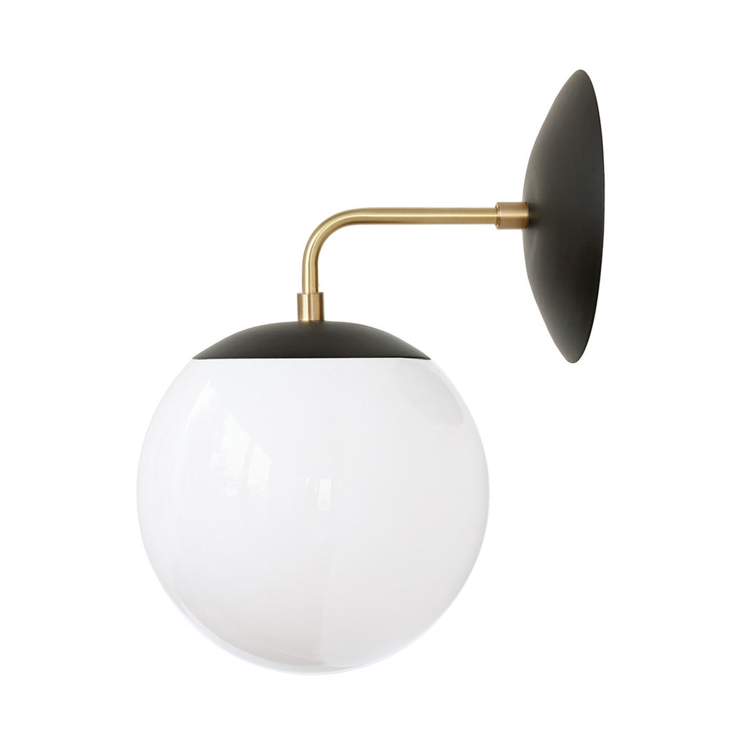 Cedar and Moss. Alto Sconce 8. Shown in Matte Black and Brass with Opal Glass. (G19 light bulb shown, not included).