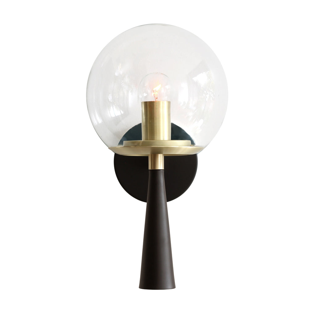 Cedar and Moss. Audrey 8. Shown in matte black and brass finish with clear glass. (G16.5 light bulb shown, not included).