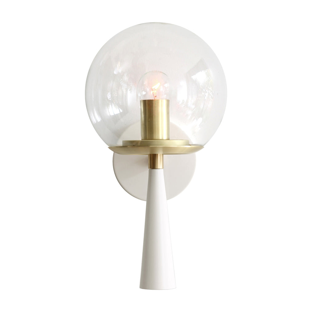 Cedar and Moss. Audrey 8. Shown in white and brass finish with clear glass. (G16.5 light bulb shown, not included).