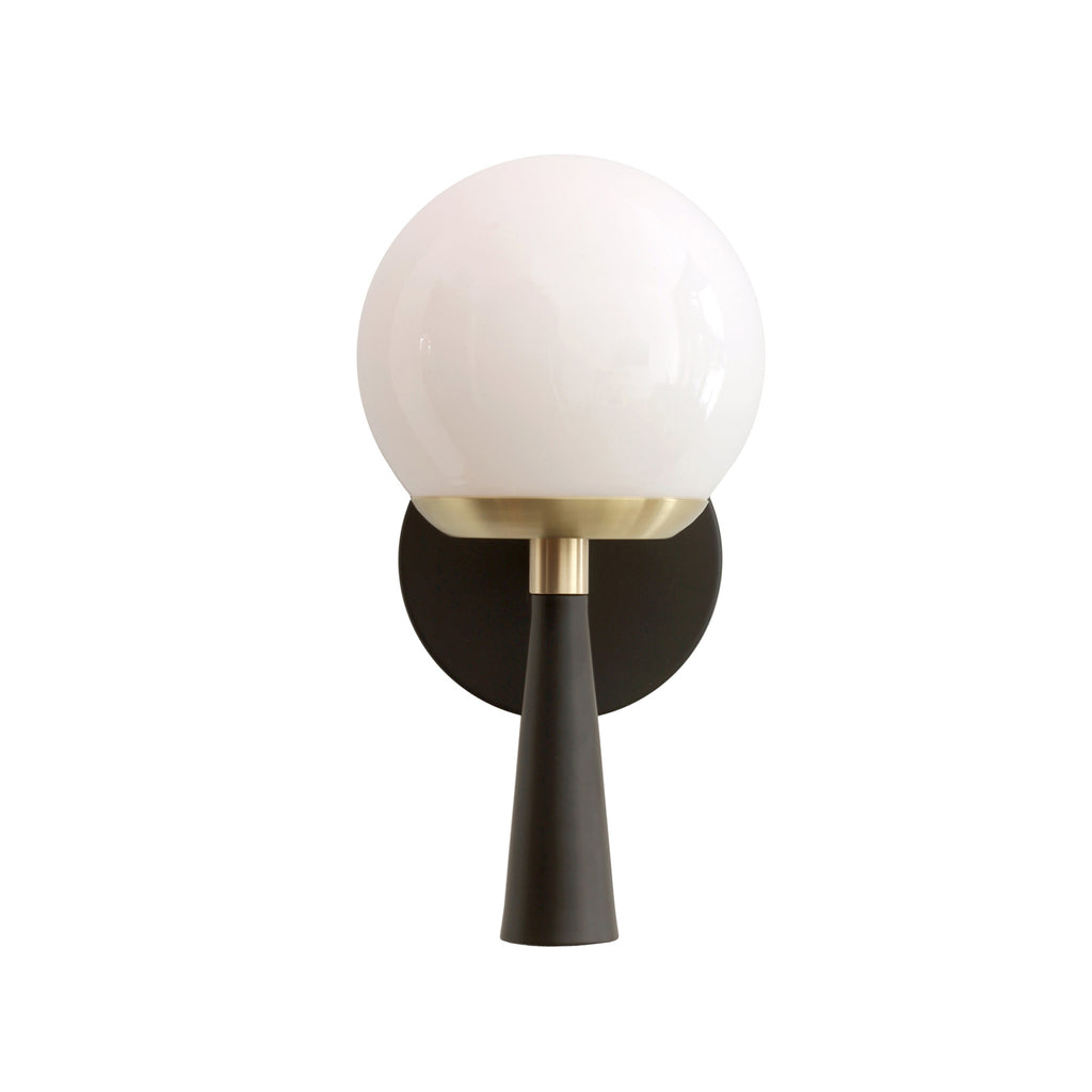 Audrey 6 Sconce. Shown in Matte Black and Brass with Opal Glass. (G16.5 light bulb shown, not included). Cedar and Moss.