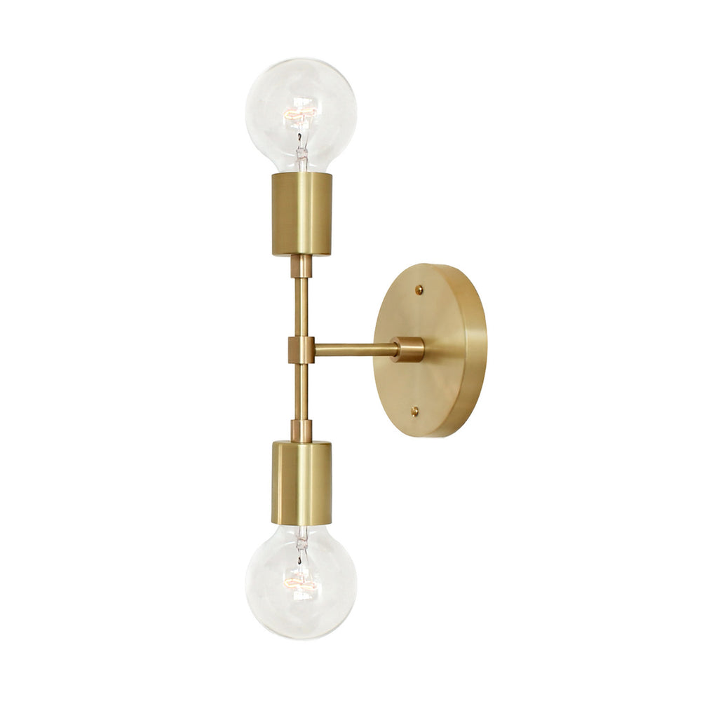Cedar and Moss. Vista 2 Wall Sconce. Shown in Brass finish. (G25 light bulb shown, not included).
