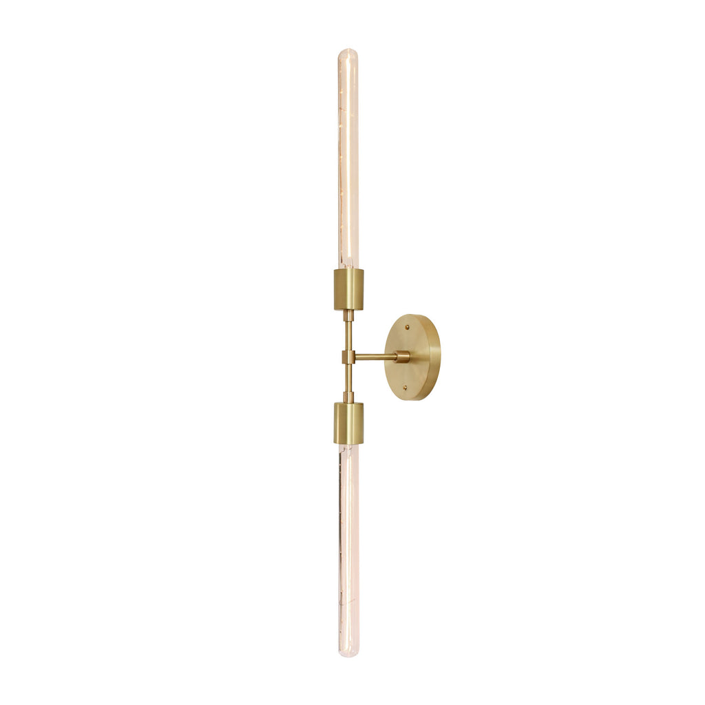 Cedar and Moss. Vista 2 Wall Sconce. Shown in Brass finish. (T8 Showcase light bulbs shown, not included)