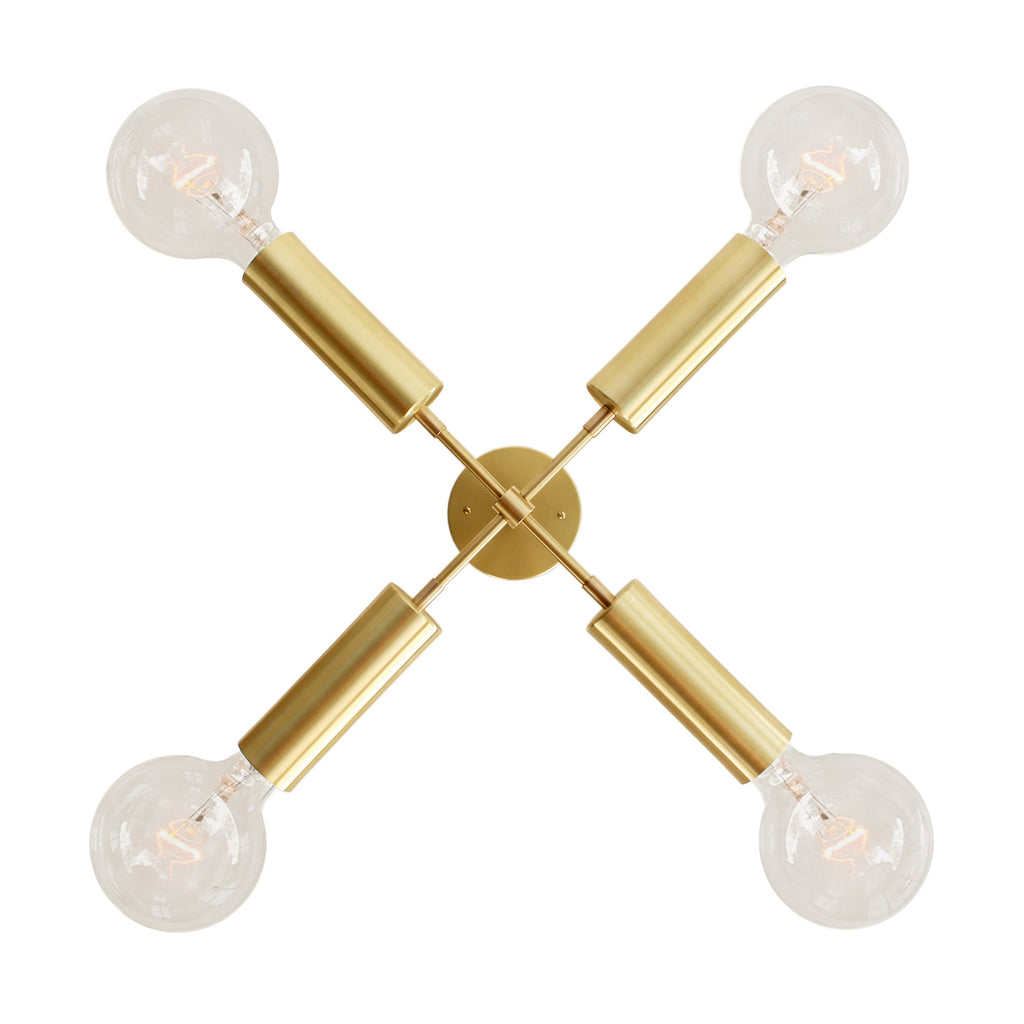 Cedar and Moss. Fjord Compass Chandelier. Shown in Brass finish. (G40 light bulbs shown, not included).