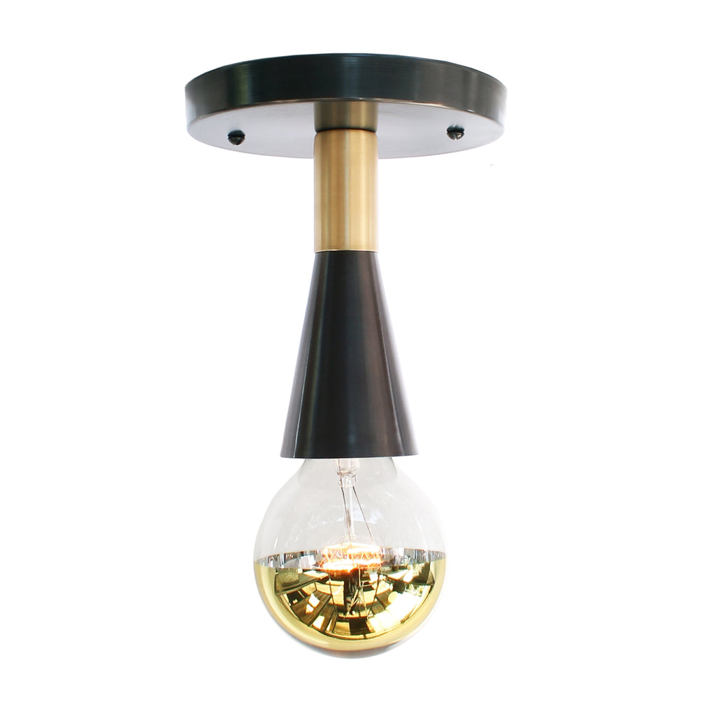 Cedar and Moss. Flare Surface Lighting Fixture. Shown in Graphite Patina + Brass Finish.