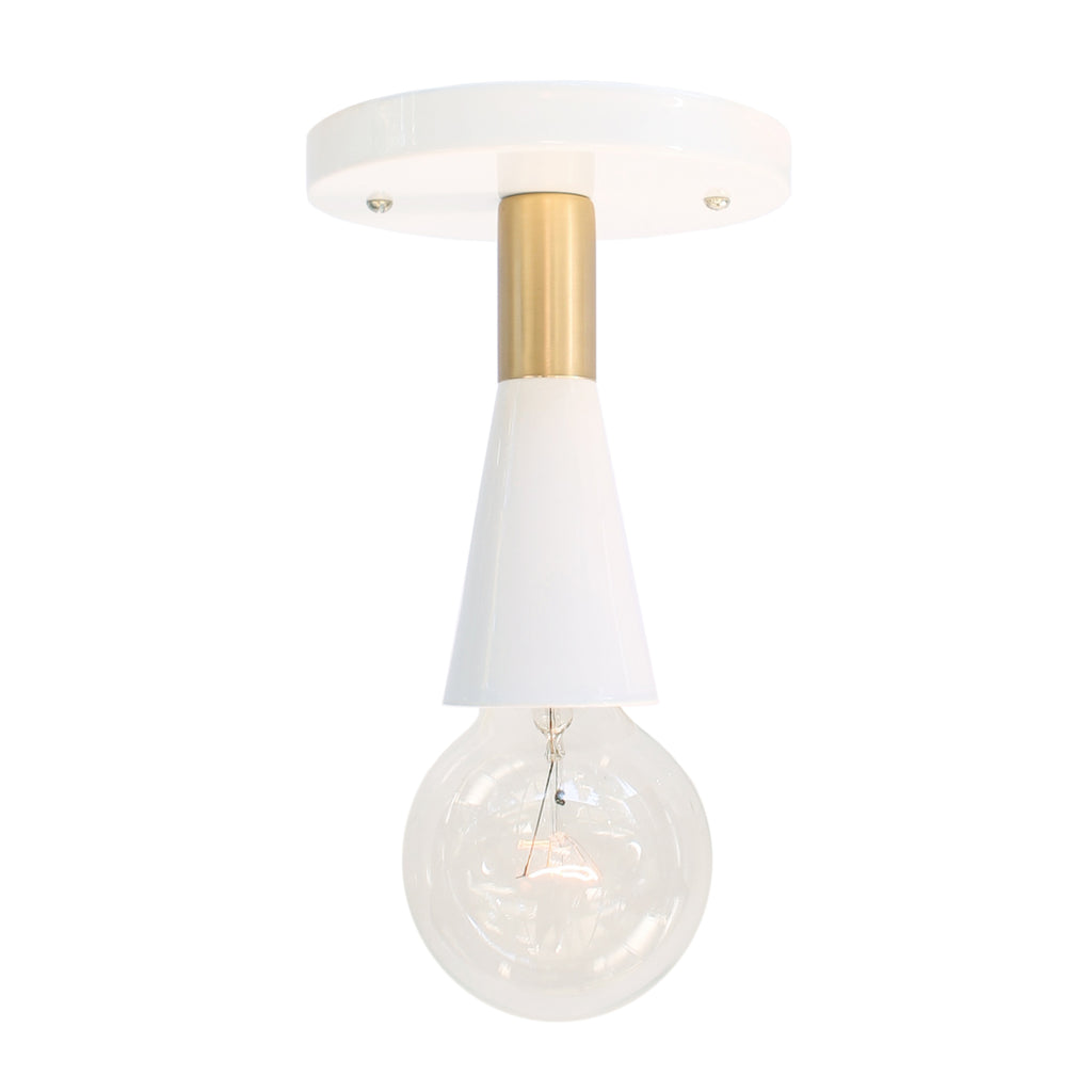 Cedar and Moss. Flare Surface Lighting Fixture. Shown in White + Brass Finish.