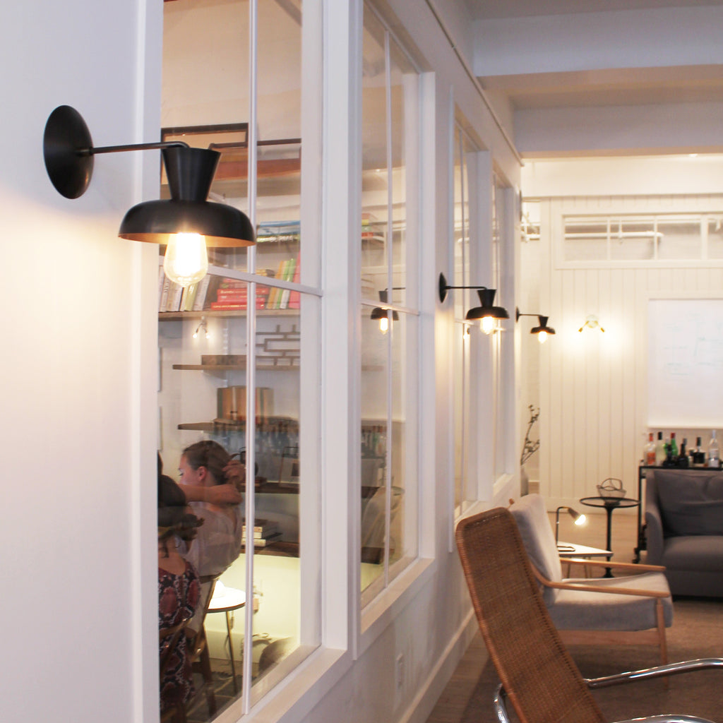 Isle Sconces at the Food 52 Office in New York, space designed by B Sherman Workshop.