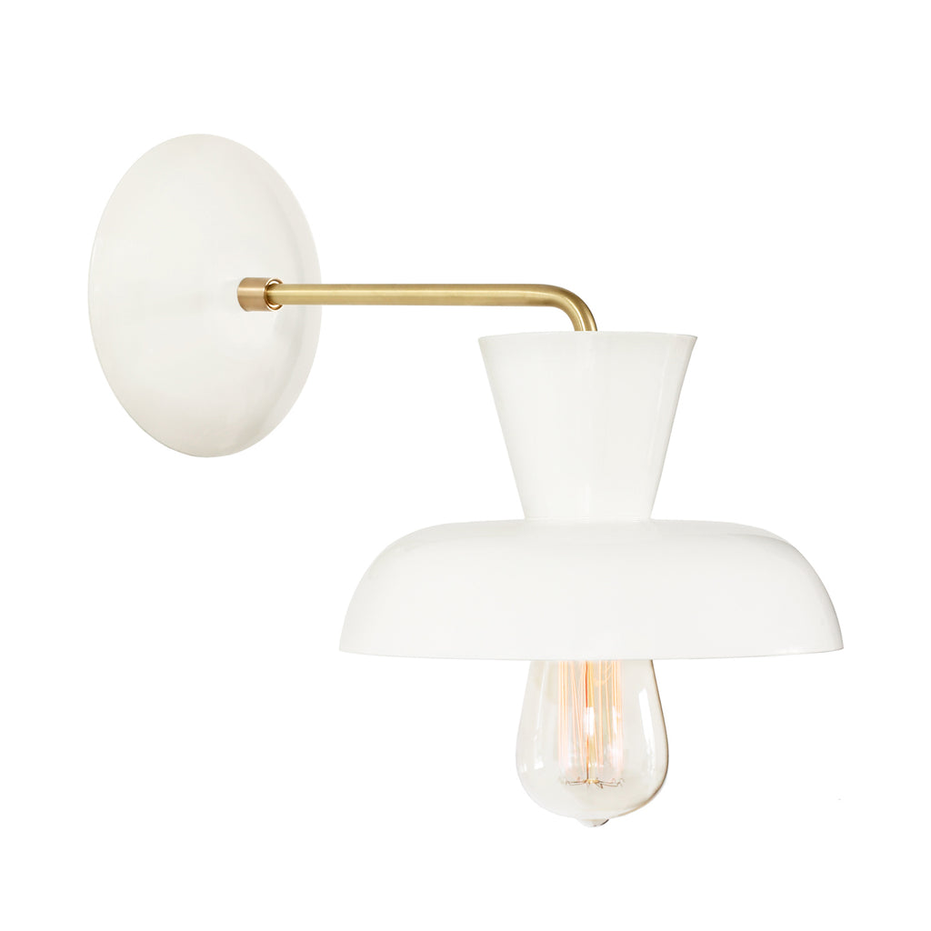 Cedar and Moss. Isle Sconce. Shown in White and Brass finish.