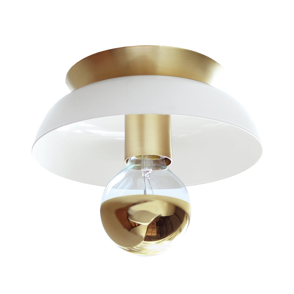 Cedar and Moss. Lucia Surface or Sconce. Shown in Gloss White and Brass Finish.