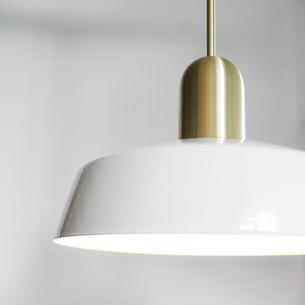 "Cedar and Moss. Meadowlark Luxe Rod Pendant. Shown with 11"" Shade in White + Brass Finish."