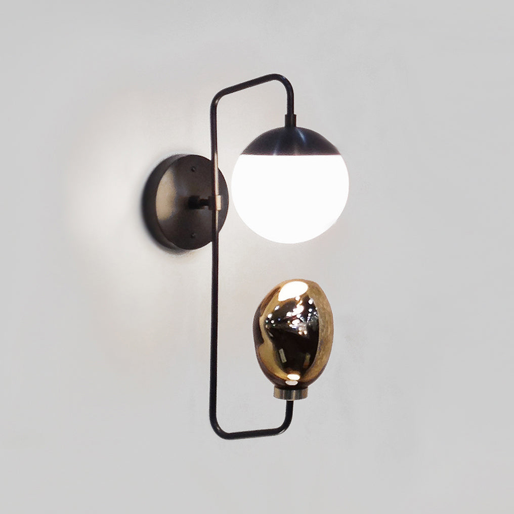Cedar and Moss with Esque Colab. Wall Candy Sconce. Shown in Graphite Patina finish with Opal Glass and Bronze art glass. (G16.5 light bulb shown, not included).