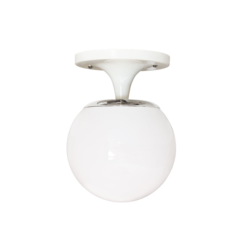 "Cedar and Moss. Moss 6"" Surface or Sconce. Shown in White + Polished Nickel Finish with 6"" Opal Glass."