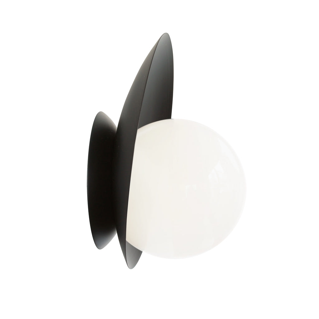 Cedar and Moss. Pearl Wall Sconce. Shown in Matte Black finish.