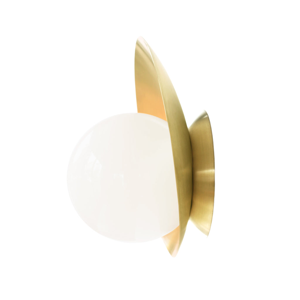 Pearl Wall Sconce. Shown in Brass finish. Cedar and Moss.