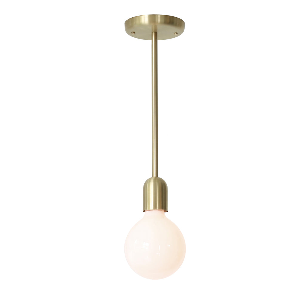 Cedar and Moss. Petite Rod Pendant. Shown in Brass Finish.