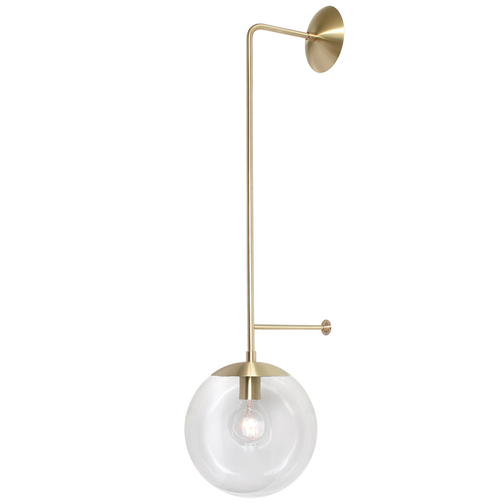 "Cedar and Moss. Ramona Wall Sconce. Shown in Brass Finish with 10"" Clear Glass. (G25 light bulb shown, not included)."