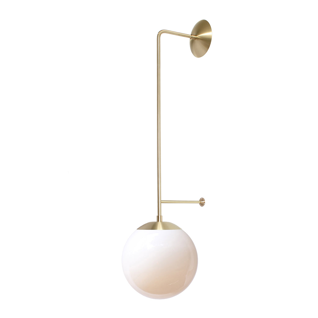 "Cedar and Moss. Ramona Wall Sconce. Shown in Brass Finish with 10"" Opal Glass. (G25 light bulb shown, not included)."