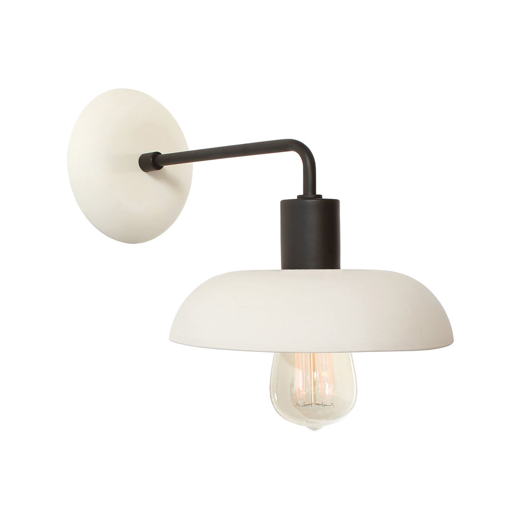 Cedar and Moss. Terra Sconce. Bone and Matte Black finish. (S21 Edison light bulb shown, not included).